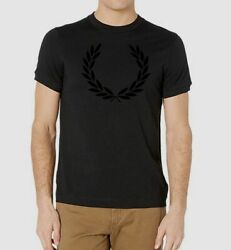 NEW $225 Fred Perry Men#x27;s Black Crew Neck Tee Logo Short Sleeve T Shirt Size M $38.46
