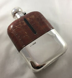 Antique Silver And Crocodile Leather Hip Flask 1 Pint Jdas Sheffield 1925 Bezx