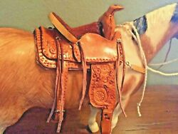 traditional breyer size western saddle set model horse peter stonetack