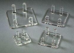 Acrylic Four Peg Stands Display Rocks And Minerals Fossils Geodes Coins Art