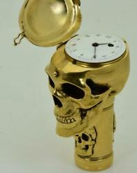 Antique 19th C. French Masonic Skull Verge Fusee Cane Holder W/ Integrated Watch