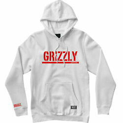 Grizzly Griptape Menand039s Og Stamp Long Sleeve Pullover Hoodie White/red Clothin...
