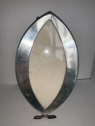 Antique Silverplate Decorative Oval Fisheye Picture Frame Marked