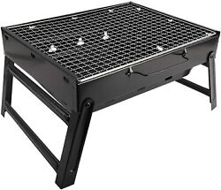 Portable Stainless Steel Folding Tabletop Outdoor Smoker Bbq Charcoal Grill Set