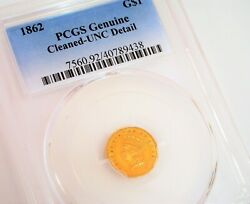 Antique 1862 1 Gold Coin Indian Princess Pcgs Cased Cleaned Uncirculated Detail