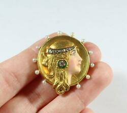 Antique 14k Gold Egypt Cameo Lady With Golden Hair Enamel Natural Diamond And Pe