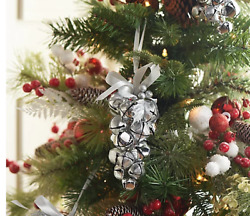 Set Of 6 7 Metal Jingle Bell Ornaments By Valerie Color Silver,