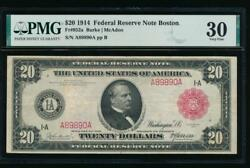 Ac Fr 953a 1914 20 Boston Frn Red Seal Pmg 30 Rare Note, Only Ten Graded