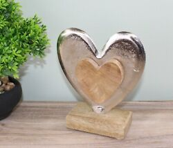 Metal And Wood Standing Heart Decoration S-or1149