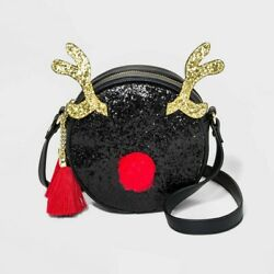 Mad Love Christmas Santa Red Nose Reindeer Black Crossbody Purse New $19.95