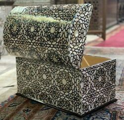 Egyptian Handmade Wood Jewelry Box Inlaid Mother Of Pearl 20.8x12.8