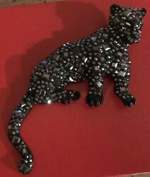 """5"""" Large Vintage Panther Jungle Cat Rhinestone on Black Articulated Figural Pin"""