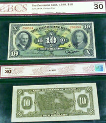 1938 10 The Dominion Bank , Canada Chartered Banknote