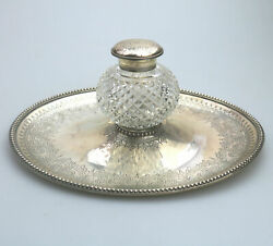 A Fine Antique Solid Silver Ink Stand With Engraved Tray And Lid Elkington C.1877