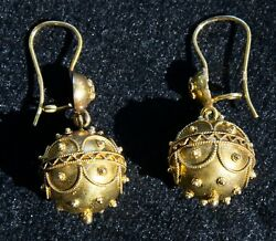 Antique Victorian Etruscan 14k Gold Earrings - Dangling Appraised W/ Papers