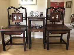 19th Century Chinese Antique Canton Carved Rosewood Chair Table Set Marble Inset