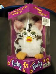 1998 Furby White Black Spots Blue Eyes With Box Tiger Electronics New
