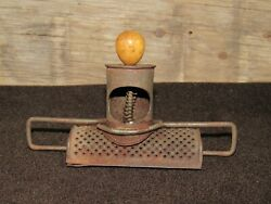 Nice Antique Nutmeg Grater, Tin W Wooden Handle And Adjustable Angle