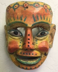 Vintage Hand Carved And Painted Mask Made In Guatemala Yellow Orange 8.5 X 7.5