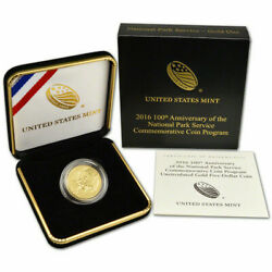 2016-w 100th Anniv National Parks Service 5 Gold Uncirculated With Ogp And Coa