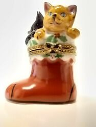 Red Christmas Boot With Two Cats Inside Limoges/chamart Trinket Box.