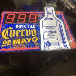 Cuervo De Mayo Countdown Lighted Tequila Bar Sign 19 X 22 Nice Mancave