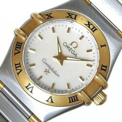 Omega Constellation Mini 1362.70.00 Ladies White Shell Dial From Japan [e1130]