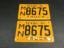 Vintage 1951 Texas Tx. Truck License Plate Set Very Nicely Restored High Quality
