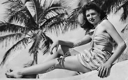 Crp-1897 1945 Vintage Pinup Beauty Chick Fagan In Her Sarong In West Palm Beach