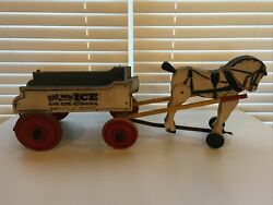 Vintage 30s 40s Horse Drawn Wagon Wood Pull Toy Old Advertising