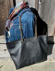 TORY BURCH Large MARION Chain Whipstitch BLACK Leather Shoulder Bag $149.99