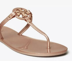 Tory Burch Mini Miller Jelly Flat Thong Sandal in Rose Gold Size 10 $89.99