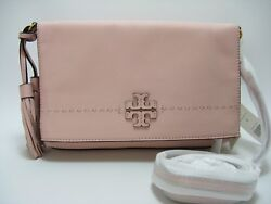 NWT Tory Burch McGraw Leather Fold Over Crossbody in Pink Quartz $229.99
