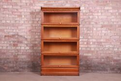 Antique Oak Four-stack Barrister Bookcase By Macey, Circa 1920s