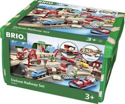 Brio World 33052 Deluxe Railway Set   Wooden Toy Train Set For Kids Age 3 And...