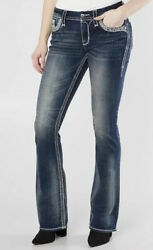 Rock Revival Glade Easy Boot Stretch Jeans Women Size 33 X 34 Dark Blue New 169