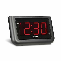 RCA Digital Alarm Clock Large 1.4quot; LED Display with Brightness Control and ...