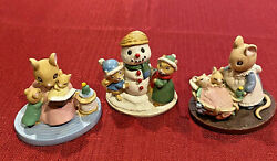 Avon Gift Forest Friends Mice Snowman Snowball All Tucked In Story Time Figurine