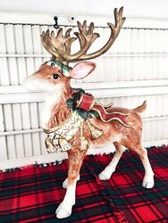 """Retired Fitz And Floyd Classic Christmas Reindeer Standing 17"""" Mint Condition"""