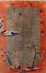 Antique Transitional Floral Art Deco Chinese Area Rug Hand-knotted 9x11 Carpet