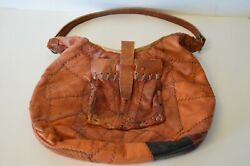 Leather Boho Hobo Women#x27;s Bag Purse Hand Made Vintage Collectible Stitched $45.00