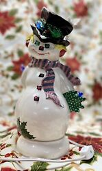 Vintage Ceramic Mold Light Up Snowman On Base Pink And Gray Scarf Birds 12