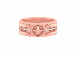 Rose Gold Message Bottle Ring Nautical Star Compass Wedding Band Sea Lovers Ring