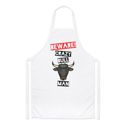 Beware Crazy Bull Man Chefs Apron - Funny Animal Cooking