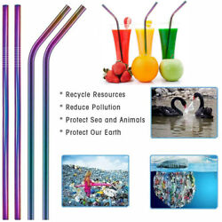 10 pcs Reusable Stainless Steel Metal Drinking Straw Straws 2 Cleaner Brush US $6.79