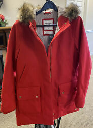 Nwt Abercrombieandfitch Womenand039s Heritage Wool Parka Large Red Classic Coat Quilted