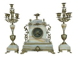 F50718ec Baily Banks And Biddle Vintage Marble French Style 3 Piece Clock Set
