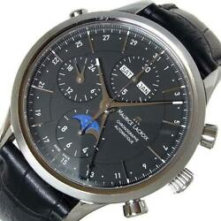 Maurice Lacroix Chronograph Moon Phase Lc6078-ss001 Black Auto Menand039s [e1204]