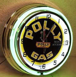 18 Polly Gasoline Motor Oil Gas Station Sign Double Neon Clock