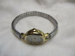 Carriage By Timex Watch Round White Face Gold And Silver Toned Expansion Band